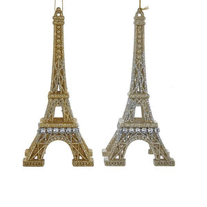 Kurt Adler Gold and Silver Glitter Eiffel Tower Acrylic Ornaments, 2 Assorted, T2107