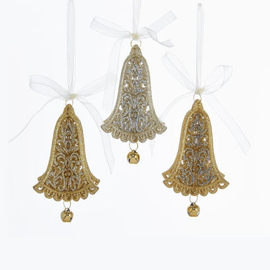 Kurt Adler Gold and Silver Glitter Bell With Bow Acrylic Ornaments, 3 Assorted, T2140