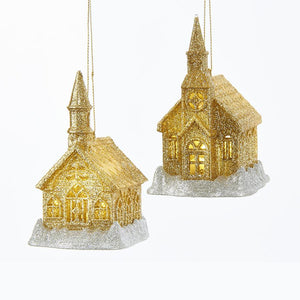 Kurt Adler Battery-Operated Gold and Silver Glitter LED Church Ornaments, 2 Assorted, T2251