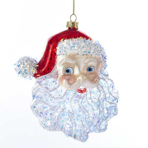 Kurt Adler Glass Santa Head Ornament, T2290