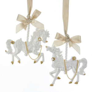 Kurt Adler White and Gold Carousel Horse Ornament, 2 Assorted, T2337