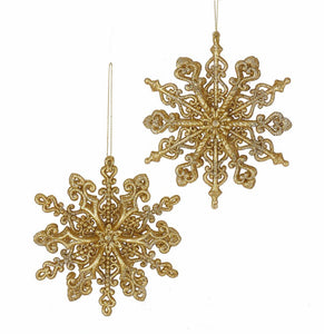 Kurt Adler Gold Glitter Snowflake Ornaments, 2 Assorted, T2348