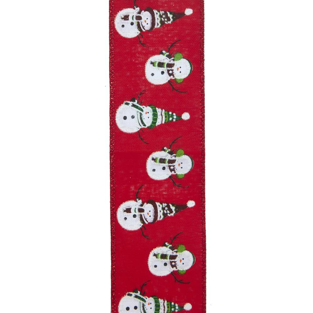 Kurt Adler Kurt Adler 10-Yard Woven Red Ribbon With Snowman Pattern, T2386