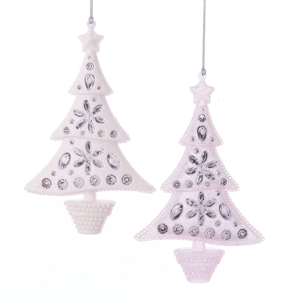 Kurt Adler Pink Glitter Christmas Tree Ornaments, 2 Assorted, T2406