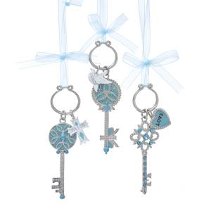 Tiffany Blue/Silver Metal Key with Bow and Saying Ornament, Faith and Peace Only, T2474