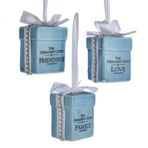 Tiffany Blue Gift Box with Sentiment Saying and Bow, 3 Assorted, T2478
