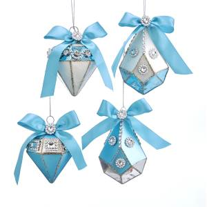 Tiffany Blue/Silver Onion and Drop Shapes with Bow Ornament, 4 Styles, T2482
