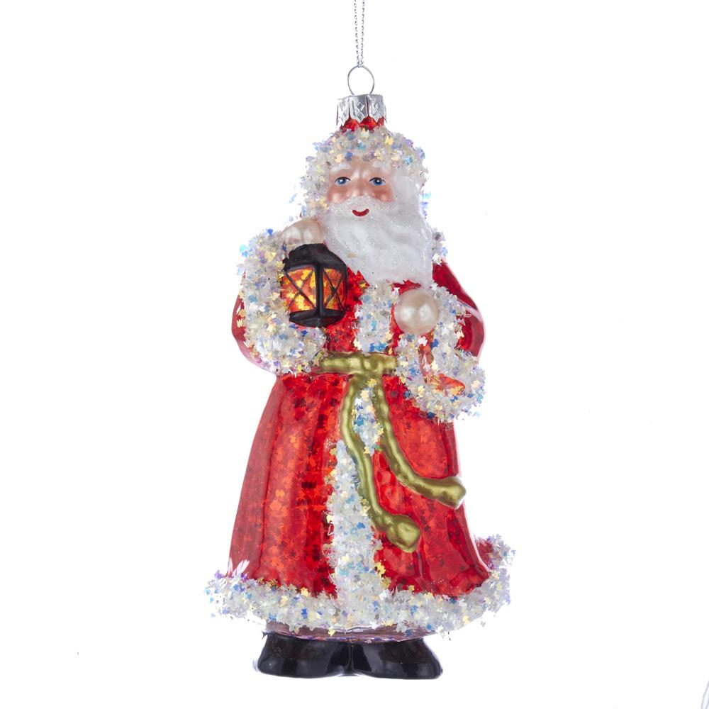 Kurt Adler Red And White Glass Santa Ornament, T2497