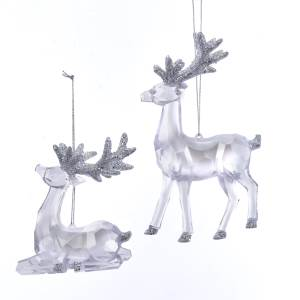 Clear Iridescent Glitter Reindeer Ornament, 2 Styles, T2524