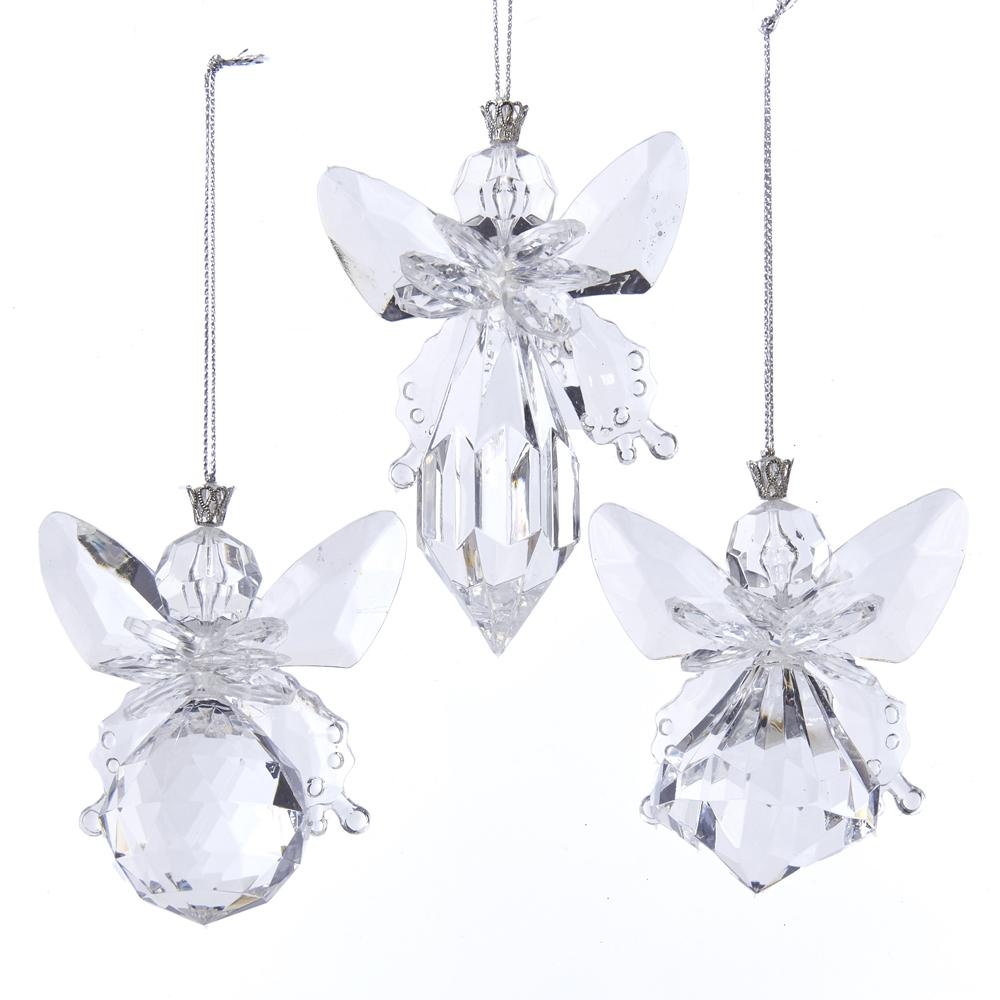 Kurt Adler Clear Angel Ornaments, 3 Assorted, T2541