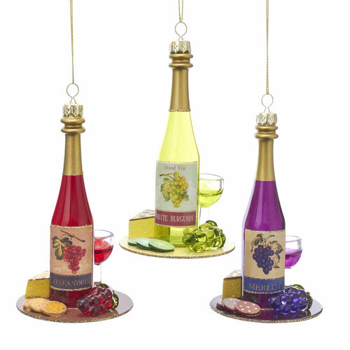 Kurt Adler Glass Wine Bottle Ornaments, 3 Assorted, T2548