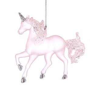 Pink Acrylic Unicorn Ornament with Glitter, T2558