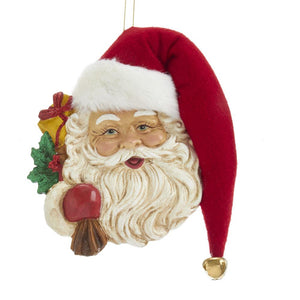 Kurt Adler Santa Head With Hat Ornament, T2578