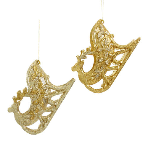 Kurt Adler Gold And Platinum Sleigh Deer Ornaments, 2 Assorted, T2602