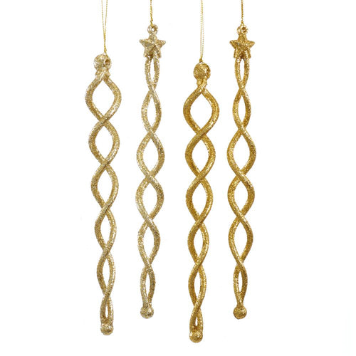 Kurt Adler Gold And Platinum Icicle Ornaments, 4 Assorted, T2604