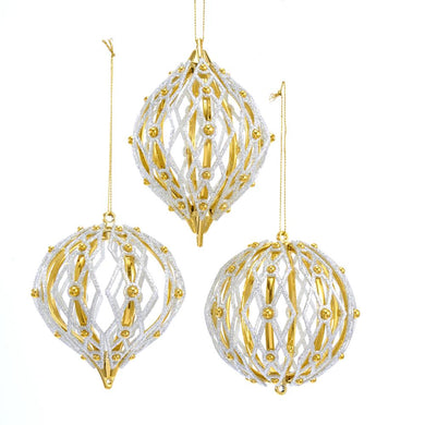 Kurt Adler Shiny Gold And Silver Ball, Onion And Finial Ornaments, 3 Assorted, T2605