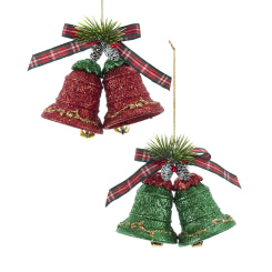Red and Green Glitter Double Bell Ornament, 2 Styles, T2610