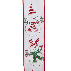 "Kurt Adler 2.5"" 10 yard Woven Snowman Pattern Ribbon, T2646"