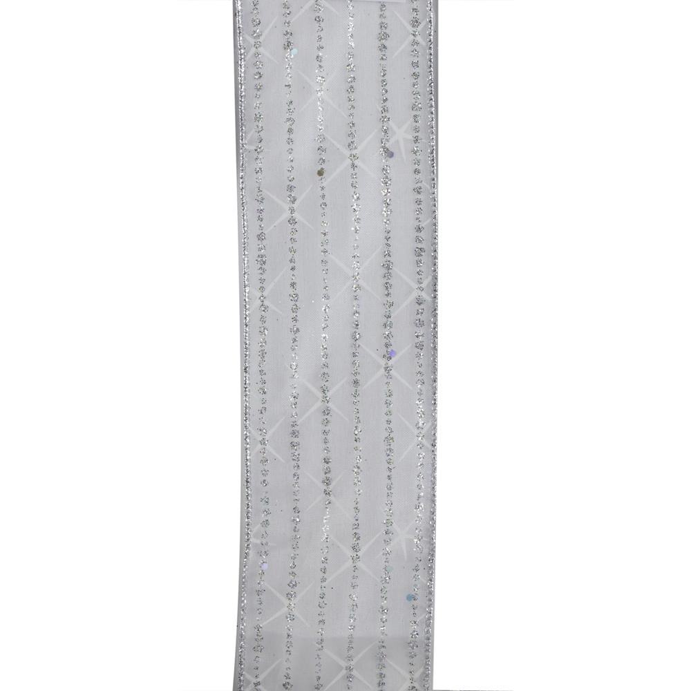 Kurt Adler Silver Glitter Stripe Double Wire Ribbon, T2659