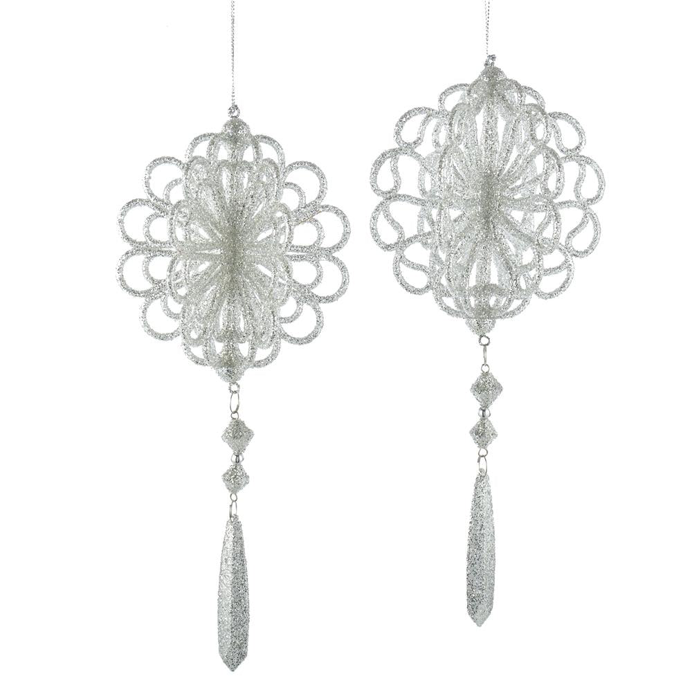 Kurt Adler Silver Dangle Ornaments, 2 Assorted, T2670
