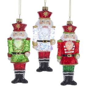 Kurt Adler RedGreen Glass Nutcracker Ornament, 3 Styles, T2691