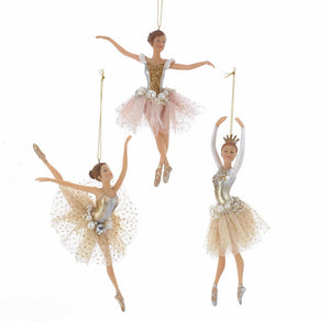 Kurt Adler Ballerina Ornaments, 3 Assorted, TD1596