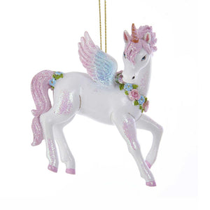 Kurt Adler Glittered Unicorn Ornament, TD1599