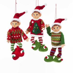 "Fabric 11"" Bendable Christmas Elf Ornament, Red, Tree or Green Sweater, TD1621"