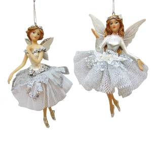 "5.5"" RESIN White and Gray Fairy Angel Ornament , 2 Assorted, TD1646"