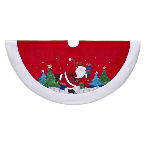 Kurt Adler 48-Inch Red and White Velvet Santa Tree Skirt, TS0215