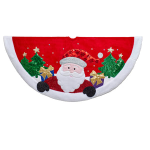 "48"" Red/White Applique Santa Christmas Treeskirt, TS0230"
