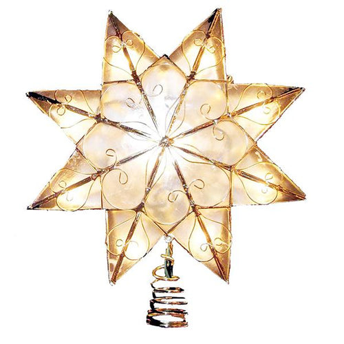 Kurt Adler Capiz Gold Star With Arabesque Decoration Lighted Treetop, UL0271