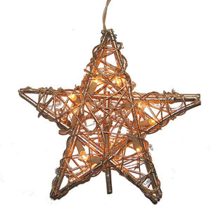 Kurt Adler Rattan Gold Star Lighted Treetop, UL1219/GO