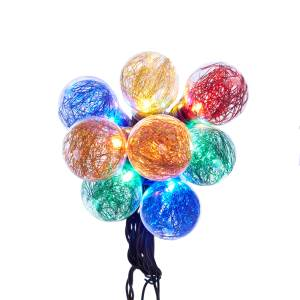 UL 10-Light LED Tinsel Ball A19 Multi Color Light Set, UL1732