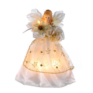 "9"" Ivory and Gold Lighted Angel Tree Topper, UL2111"