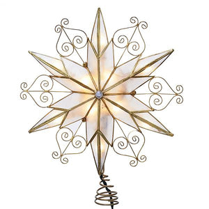 Kurt Adler Capiz Star With Scroll Design Lighted Treetop, UL3110