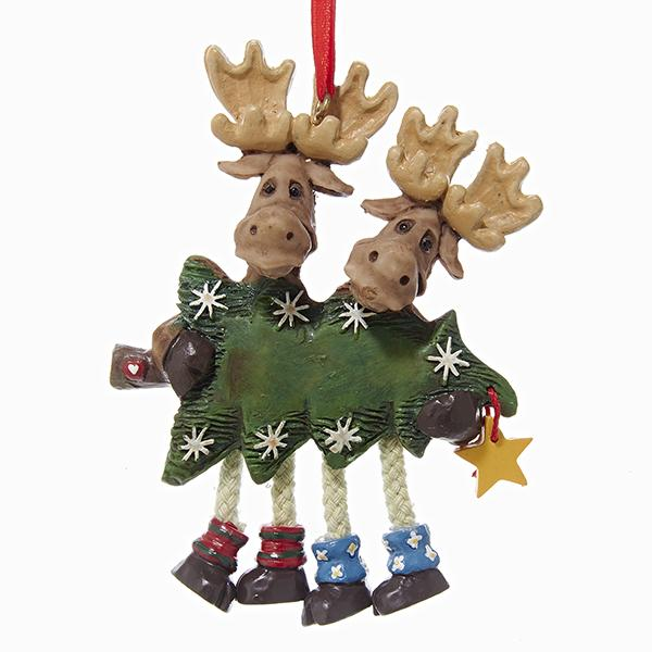 Kurt Adler Moose Couple Carrying A Christmas Tree Ornament For Personalization, W1162