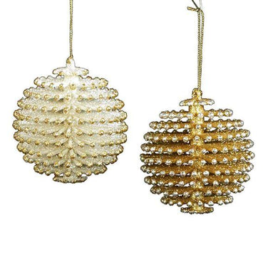 Kurt Adler Silver and Gold Pinecone Ball Ornaments, 2 Assorted, W20255