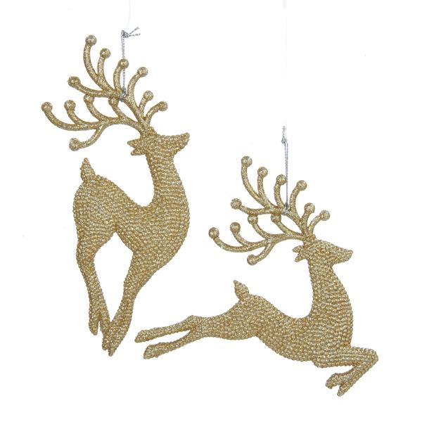 Kurt Adler Champagne Gold Diamond Reindeer Acrylic Ornaments, 2 Assorted, W20259