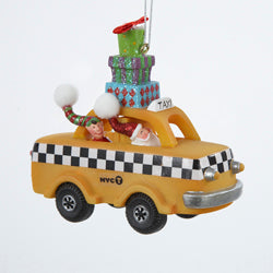 Resin New York City Vintage Taxi Cab with Santa and Elf ornament, W5451