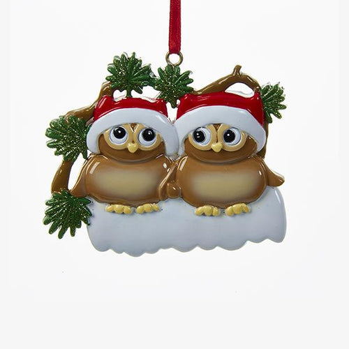 Kurt Adler Owl Family Of 2 Ornament For Personalization, W8262