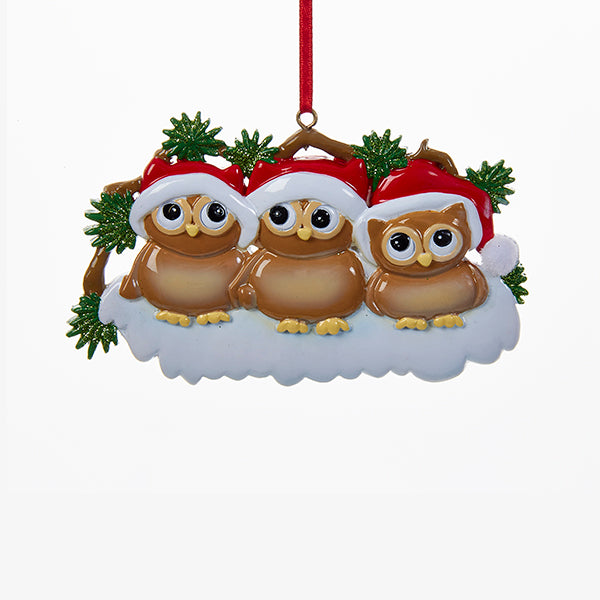 Owl Family of Three Ornament for Personalization, W8263