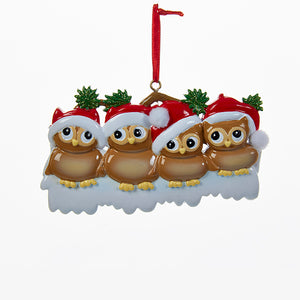 Owl Family of Four Ornament for Personalization, W8264