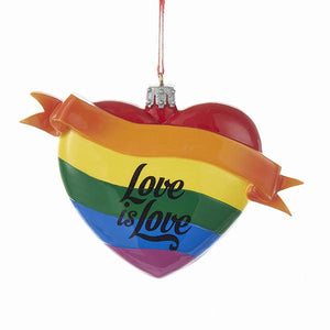 "Kurt Adler Pride Rainbow ""Love Is Love"" Heart Ornament For Personalization, W8308"