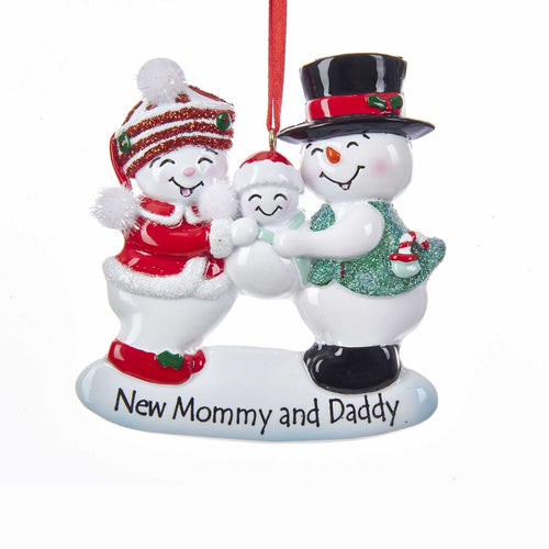 Kurt Adler New Mommy and Daddy Snow Family Ornament For Personalization, W8373