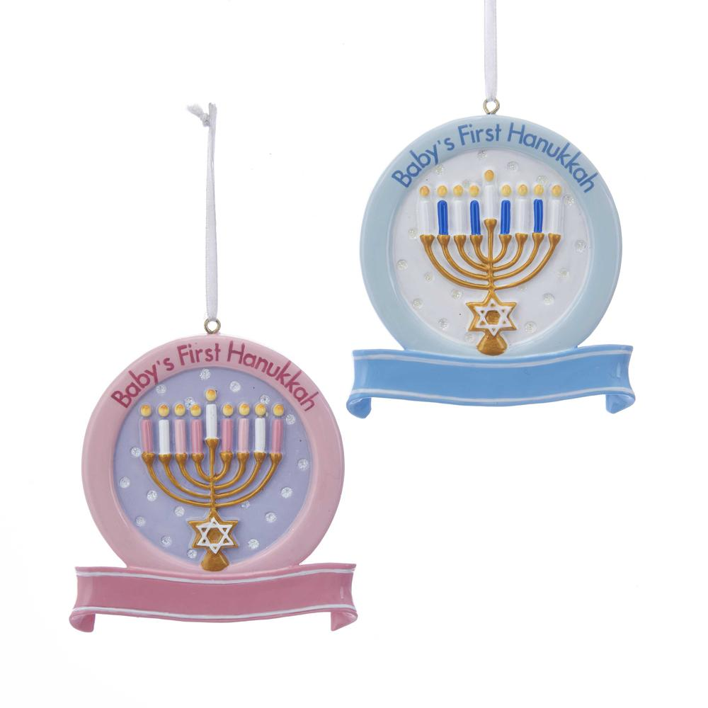 Kurt Adler Baby's 1st Hanukkah Ornament For Personalization, 2 Assorted, W8380