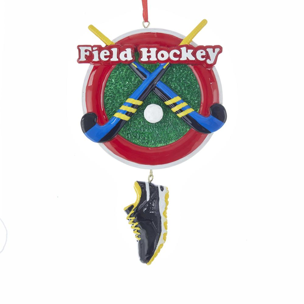 Kurt Adler Field Hockey With Shoe Dangle Ornament For Personalization, W8385