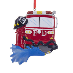 Kurt Adler Fire Truck Ornament For Personalization, W8396