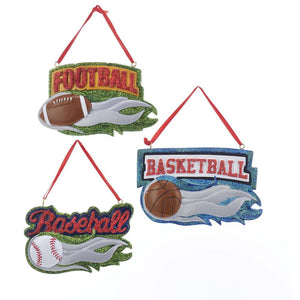 Kurt Adler Kurt Adler 4.6-Inch Resin Sport Ornaments, 3 Assorted, W8399