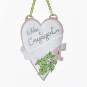 "Kurt Adler ""We're Engaged"" Heart Ornament For Personalization, W8413"